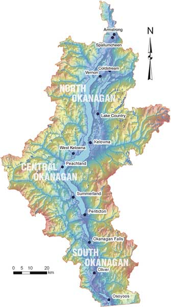 Map of the Okanagan Basin